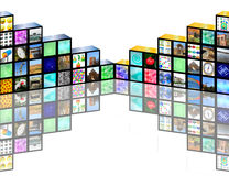 Cubic media. Abstraction which depict many different images on the cubic shapes for different necessities Stock Photography