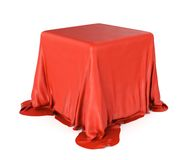 Cubic object covered satin cloth Stock Photos