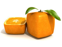Cubic orange freshness. 3D rendering of a cubic orange fruit and a half Stock Images