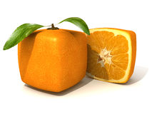 Cubic orange and half. 3D rendering of a cubic orange fruit and a half Stock Images