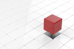 Cubic pop up. Leadership concept with 3d rendering red cubic pop up Stock Photography