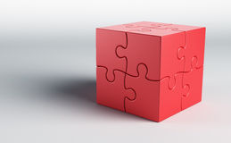 Cubic puzzle. 3d rendering of a cube made of puzzle pieces Royalty Free Stock Image