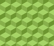 Cubic seamless pattern. Flat isometric style. Trendy green background. Three-dimensional image. Vector illustration stock illustration
