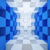 Cubic space. Blue and white cubic space room background Royalty Free Stock Image