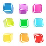 Cubic square buttons, set of nine Stock Images