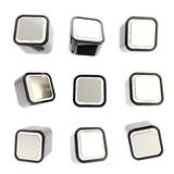 Cubic square buttons, set of nine isolated on white Stock Images