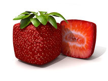 Cubic strawberry section Royalty Free Stock Images