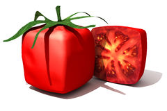Cubic tomato and a half Royalty Free Stock Images