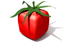 Cubic tomato solo. 3D rendering of a cubic tomato Royalty Free Stock Photography