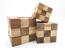 Cubic wood on white background. For artwork Stock Images