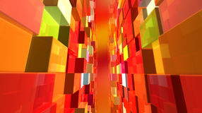 Cubic world. Abstract background with redish cubes in perspective Royalty Free Stock Photos