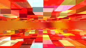 Cubic world. Abstract background with redish cubes in perspective Stock Photo
