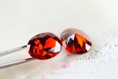 Cubic zirconia gemstones, garnet stock images