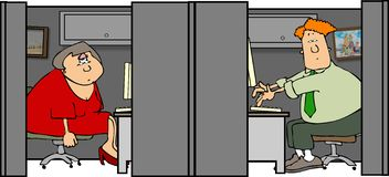 Cubicle 1. This illustration depicts a man and woman working in their cubicles Royalty Free Stock Photography
