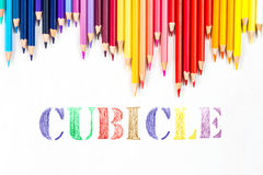 Cubicle drawing by colour pencils.  Royalty Free Stock Photo
