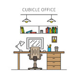 Cubicle office with furniture and equipment vector illustration Royalty Free Stock Photo