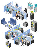 Cubicle Office Workplaces Set. Isolated isometric cubicle office workplaces set with desktop tables shelves and workers images on blank background vector Royalty Free Stock Photography