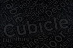 Cubicle ,Word cloud art on blackboard.  Stock Image