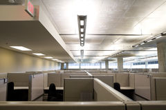 Cubicles in clean modern office. Raised view of office cubicle setup in a modern clean office setting Stock Image
