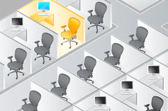 Cubicles with the special one Stock Images