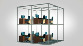 cubicles tömmer kontoret stock video