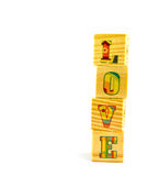 Cubico di legno su fondo bianco Fotografie Stock Libere da Diritti