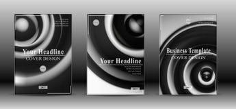 Cubierta abstracta blanco y negro del folleto Fotos de archivo