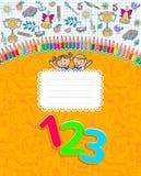 Cubierta amarilla del cuaderno de la escuela en jaula Imagen de archivo libre de regalías