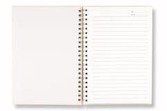 Cubierta blanca del cuaderno Imagen de archivo libre de regalías