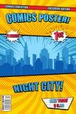 Cubierta cómica del cartel de la ciudad brillante de la noche libre illustration