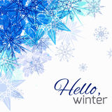 Cubierta con los copos de nieve del garabato y lugar para el texto Foto de archivo libre de regalías