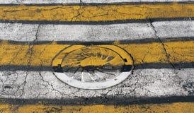 Cubierta de boca en el paso de peatones amarillo y blanco Fotografía de archivo libre de regalías