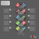 Cubierta de Infographics con el espacio para el texto y etiquetas engomadas en un fondo gris Imágenes de archivo libres de regalías