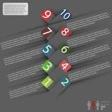 Cubierta de Infographics con el espacio para el texto y etiquetas engomadas en un fondo gris Fotografía de archivo