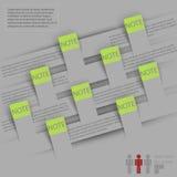 Cubierta de Infographics con el espacio para el texto y etiquetas engomadas en un fondo gris Imagenes de archivo