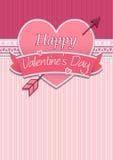 Cubierta de la tarjeta con el mensaje: Día de tarjetas del día de San Valentín feliz en un corazón rojo rodeado con la cinta rosa libre illustration