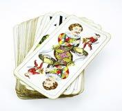 Cubierta de las tarjetas de juego del tarot Imágenes de archivo libres de regalías
