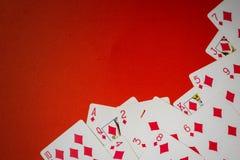 Cubierta de las tarjetas usadas como esquina imagen de archivo