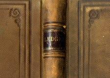 Cubierta de libro antigua del libro mayor Fotos de archivo libres de regalías