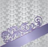Cubierta de libro floral del estilo de plata y púrpura del victorian Fotos de archivo