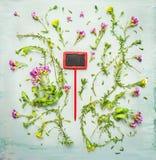 Cubierta de tierra que florece con la muestra roja en fondo de madera verde Imagenes de archivo