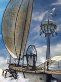 Cubierta de un dirigible de la fantasía ilustración del vector