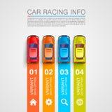 Cubierta del arte de la información de las carreras de coches Foto de archivo