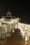 Cubierta del barco de cruceros en la noche Fotografía de archivo libre de regalías