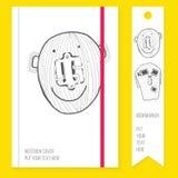Cubierta del cuaderno con la señal y los elementos dibujados mano doodle Fotos de archivo