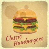 Cubierta del Grunge para el men? de las hamburguesas Foto de archivo libre de regalías
