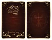 Cubierta del menú del cocinero del restaurante o vector de la tarjeta - oro Fotografía de archivo libre de regalías