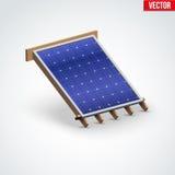 Cubierta del panel solar del icono en el tejado Imágenes de archivo libres de regalías