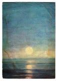 Cubierta del papel del grunge del paisaje del mar con las marcas de la edad Imágenes de archivo libres de regalías