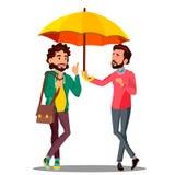 Cubierta del seguro del cliente, oficinista que sostiene un paraguas de arriba un vector feliz del cliente Ilustración aislada stock de ilustración